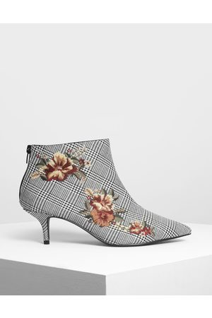 CHARLES & KEITH Women Heeled Boots - Floral Embroidery Kitten Heel Boots