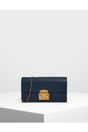 CHARLES & KEITH Metallic Push Lock Long Wallet