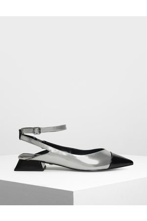 CHARLES & KEITH Metallic Leather Block Kitten Heel Pumps