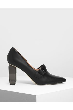 CHARLES & KEITH Buckle Lucite Heel Pumps