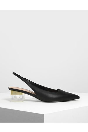 CHARLES & KEITH Lucite Heel Slingback Pumps