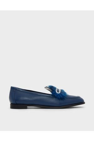 CHARLES & KEITH Furry Detail Leather Penny Loafers