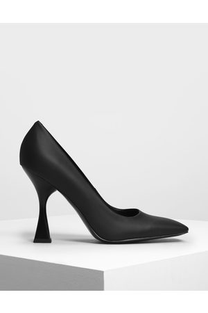 CHARLES & KEITH Women Pumps - Square Toe Geometric Heel Pumps