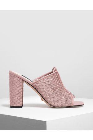 CHARLES & KEITH Mesh Block Heeled Slide Sandals