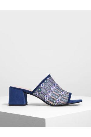 CHARLES & KEITH Printed Fabric Block Heel Slide Sandals