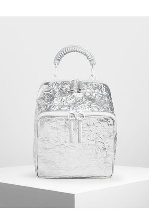CHARLES & KEITH Rope Handle Wrinkled Effect Metallic Backpack