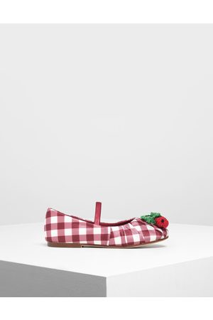 CHARLES & KEITH Girls' Cherry Embellished Check Print Mary Janes