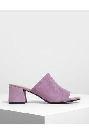CHARLES & KEITH Suede Block Heel Slide Sandals