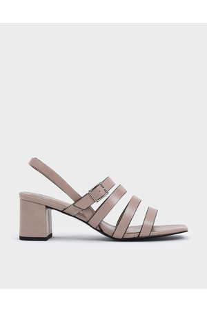 CHARLES & KEITH Strappy Block Heel Slingback Sandals