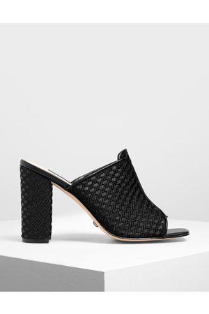 CHARLES & KEITH Women Sandals - Mesh Block Heeled Slide Sandals