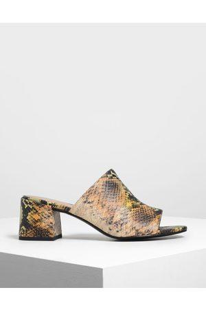 CHARLES & KEITH Women Sandals - Snake Print Block Heel Slide Sandals