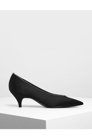 CHARLES & KEITH Women Pumps - Gem Embellished Satin Kitten Heel Pumps