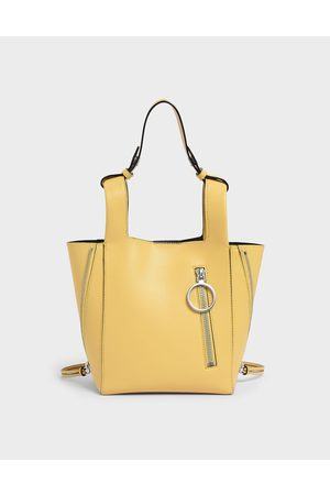 CHARLES & KEITH Ring Zip Pocket Square Handle Trapeze Tote