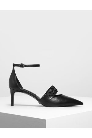 CHARLES & KEITH Weave Detail Leather D'Orsay Pumps