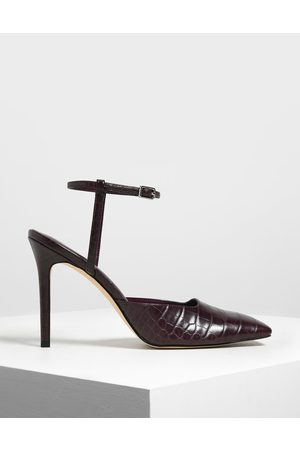 CHARLES & KEITH Square Toe Croc-Effect Stiletto Pumps