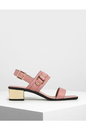 CHARLES & KEITH Chrome Block Heel Sandals