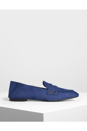 CHARLES & KEITH Stud Detail Step Back Penny Loafers