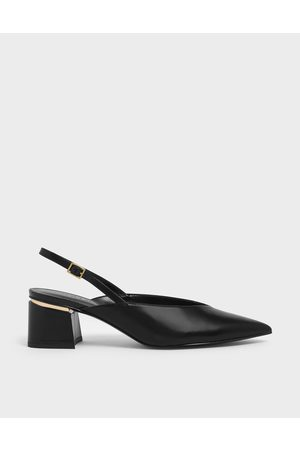 CHARLES & KEITH Women Pumps - V-Cut Block Heel Slingback Pumps