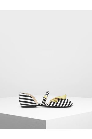 CHARLES & KEITH Girls' Black And White Stripe Mary Janes