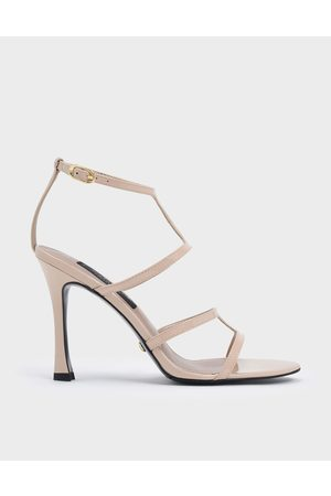 CHARLES & KEITH Women Sandals - Patent Leather Strappy Stiletto Heel Sandals