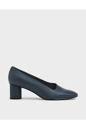 CHARLES & KEITH Asymmetric-Cut Cylindrical Heel Pumps
