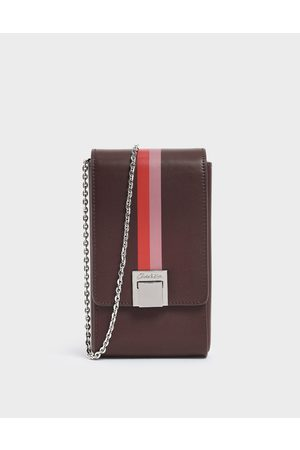 CHARLES & KEITH Striped Elongated Leather Crossbody Bag
