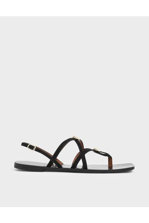 CHARLES & KEITH Sandals - Criss Cross Metal Accent Textured Strappy Sandals
