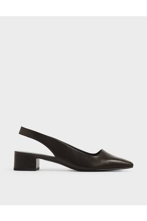 CHARLES & KEITH Women Pumps - Square Toe Block Heel Slingback Pumps