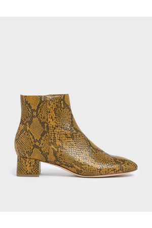 CHARLES & KEITH Snake Print Block Heel Ankle Boots