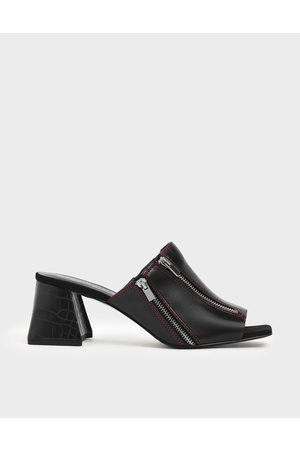 CHARLES & KEITH Croc-Effect Wrinkled Patent Zip Detail Slide Sandals