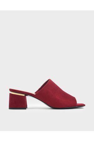 CHARLES & KEITH Block Heel Textured Slide Sandals