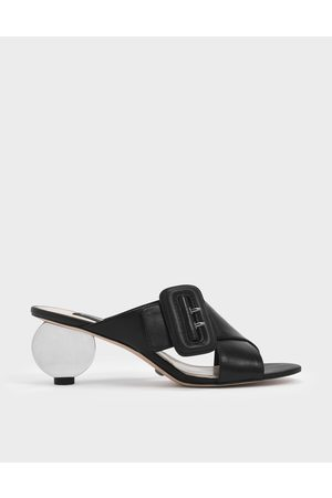CHARLES & KEITH Sculptural Heel Leather Slide Sandals