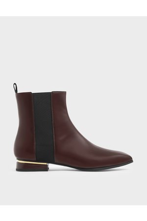 CHARLES & KEITH Women Heeled Boots - Metal Accent Heel Chelsea Boots