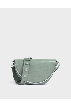 CHARLES & KEITH Croc-Effect Semi-Circle Crossbody Bag