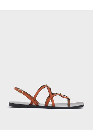 CHARLES & KEITH Criss Cross Metal Accent Textured Strappy Sandals