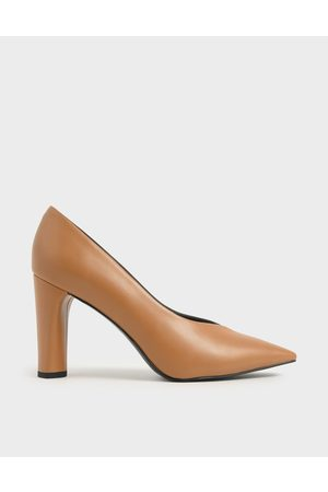CHARLES & KEITH Women Pumps - Two-Tone Textured Cylindrical Heel Pumps