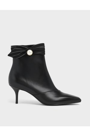 CHARLES & KEITH Pinstripe Ruched Embellished Ankle Boots
