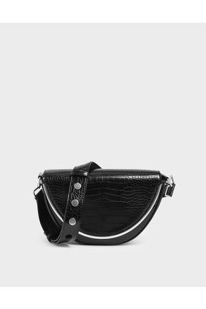 CHARLES & KEITH Croc-Effect Semi-Circle Crossbody Bag
