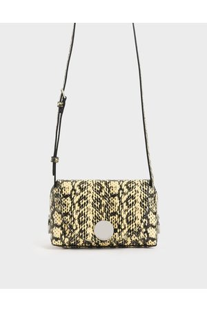 CHARLES & KEITH Women Shoulder Bags - Snake Print Metal Accent Mini Crossbody Bag