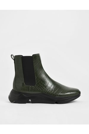 CHARLES & KEITH Women Chelsea Boots - Croc-Effect Chunky Sole Chelsea Boots