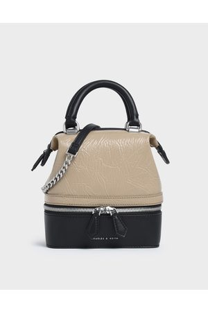 CHARLES & KEITH Wrinkled Effect Two-Way Zip Boxy Bag