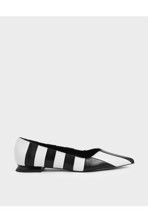 CHARLES & KEITH Two-Tone Leather Striped Ballerina Flats