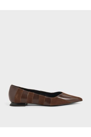 CHARLES & KEITH Girls Ballerinas - Kid Suede & Wrinkled Leather Striped Ballerina Flats