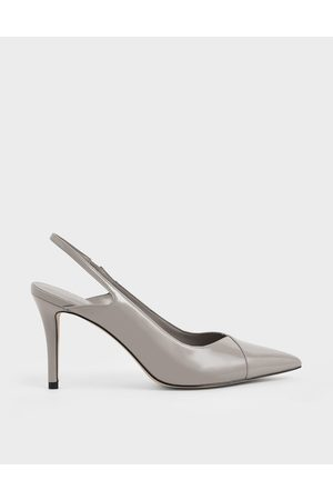 CHARLES & KEITH Patent Slingback Stiletto Pumps