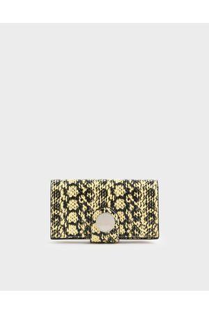CHARLES & KEITH Mini Snake Print Chrome Button Wallet
