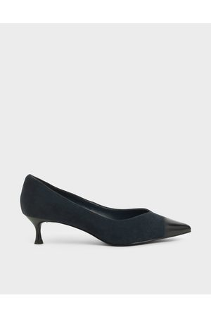CHARLES & KEITH Women Pumps - Brushed Effect Textured Sculptural Heel Pumps