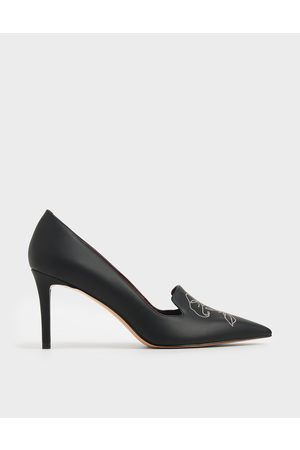 CHARLES & KEITH Floral Embroidered Stiletto Pumps