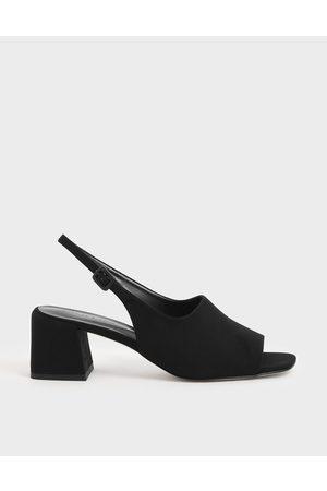 CHARLES & KEITH Heels - Textured Slingback Block Heels