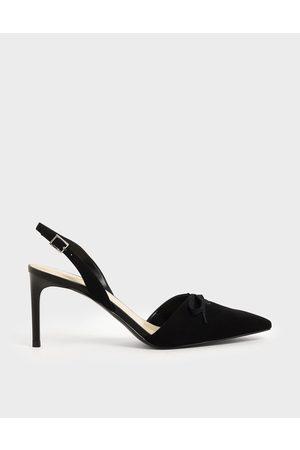 CHARLES & KEITH Heels - Ribbon Tie Textured Slingback Heels