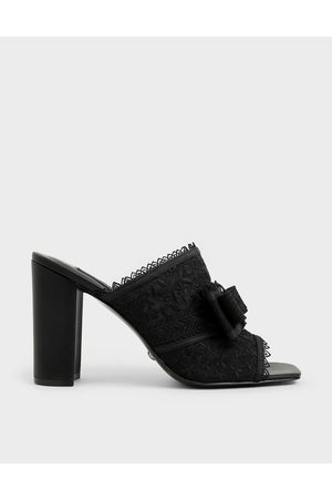 CHARLES & KEITH Floral Embroidered Mesh Mules